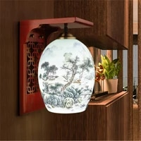 jingdezhen ceramic chinese wall lamp thin tire ceramic lamp modern simple study porch bedroom bedside wall lamp