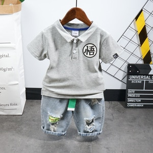 Kids casual clothes suit Children's clothing 2020 summer new boy lapel short-sleeved letter T-shirt+ripped denim shorts for 2-7y