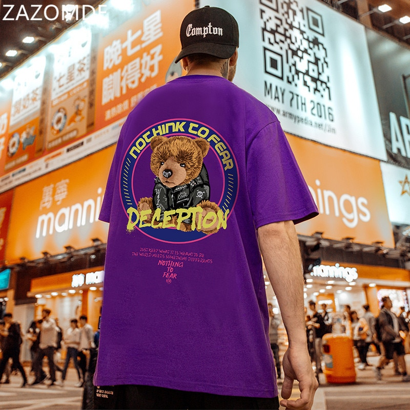 AliExpress - ZAZOMDE Summer Bear print T Shirt man Graphics T-shirt Teddy Bear Short-sleeved Tops Tees O-Neck Casual Large Size 100% Cotton