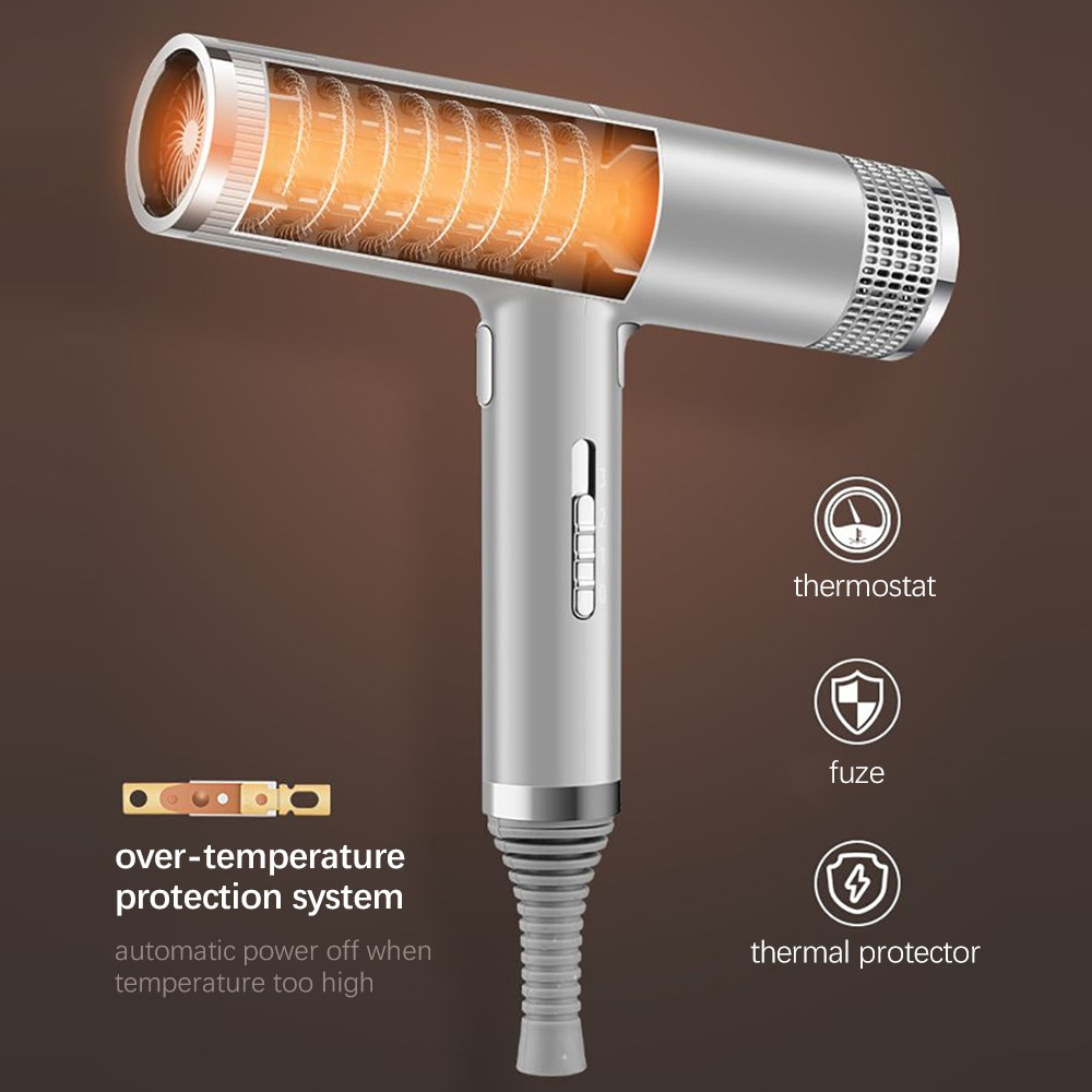 Powerful Blowing Anion Hair Dryer Professional Negative Ion Hair Blower Overheating Protect Low Noise Hair Drying Styling Tool enlarge