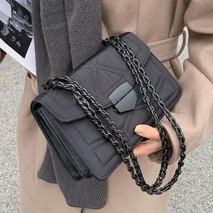 Embroidery Thread  Brand Designer PU Leather Crossbody  for Women 2021 Simple Fashion Chain Shoulder Bag Lady Luxury Handbags