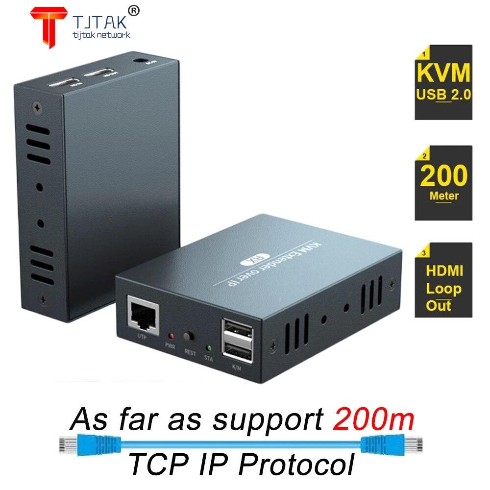 2021 أفضل شبكة IP HDMI لوحة مفاتيح بمنفذ USB الماوس كفم موسع 200 متر عبر TCP IP 1080P HDMI كفم موسع عبر كابل RJ45 Cat5e/6 للكمبيوتر