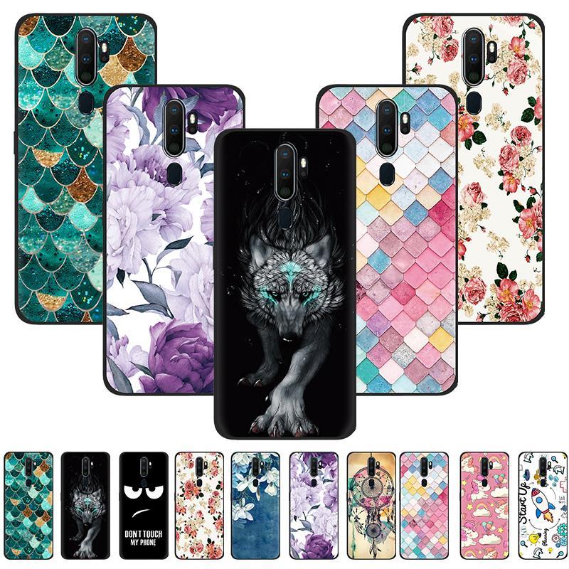 Cubierta trasera antigolpes para OPPO A9 2020/A11/A5 2020 cubierta colorida del teléfono pintada trasera de silicona TPU diseño de moda