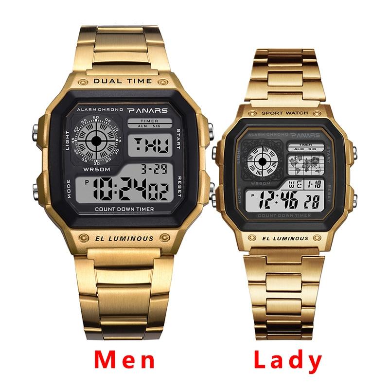 Relojes PANARS de marca de lujo para hombre, reloj electrónico Digital resistente al agua de 50M para hombres y mujeres, reloj de correa de Metal de moda plateado dorado