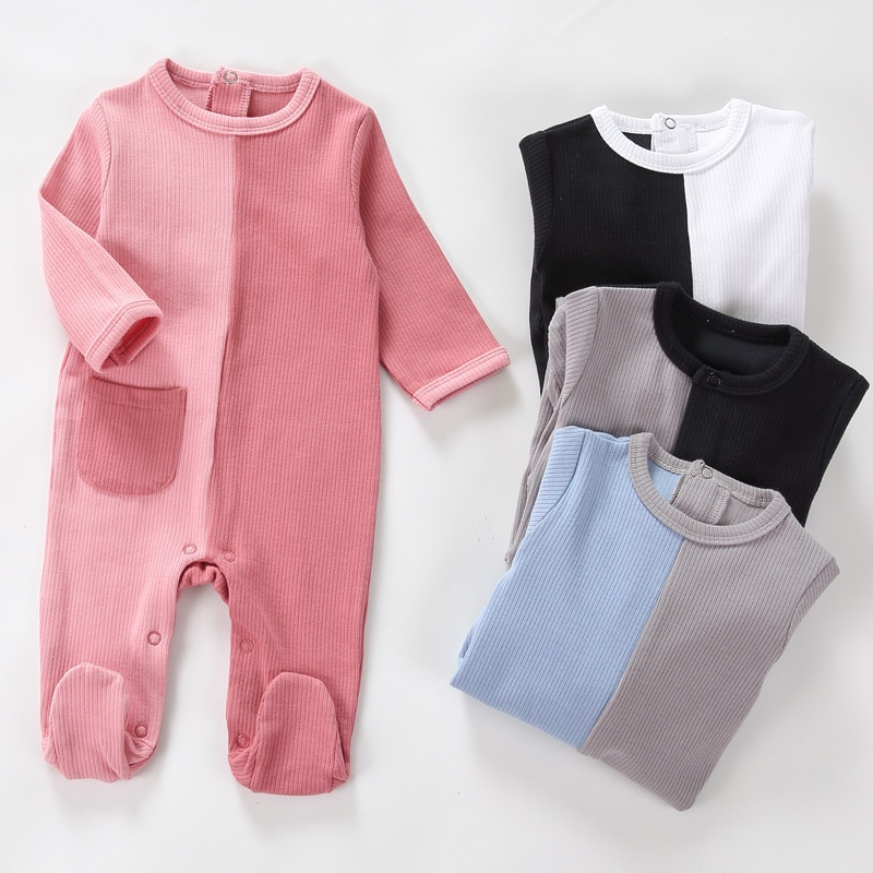 AliExpress - Baby cotton rompers long sleeve girl boy clothes Unisex pocket onesies pyjamas newborn baby footed overalls jumpsuit outfit