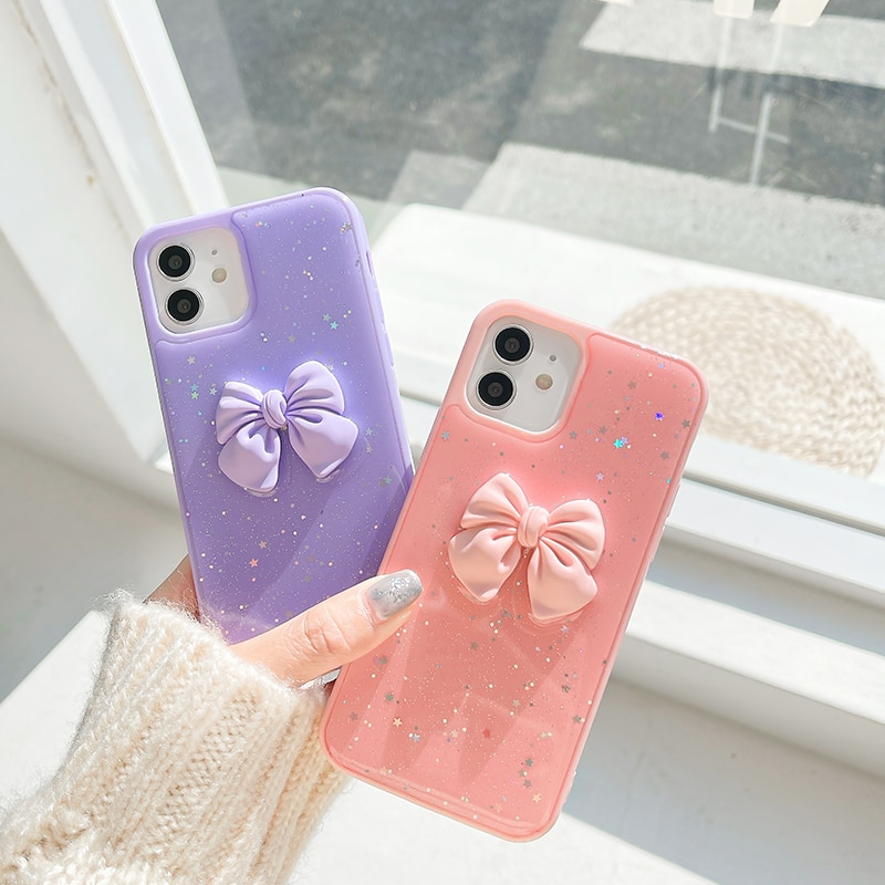 Shining sequins Color edge bowknot Phone case For iphone 12 11 pro max 12mini XR XS MAX X 7 8 Plus SE2 soft back cover girl gift