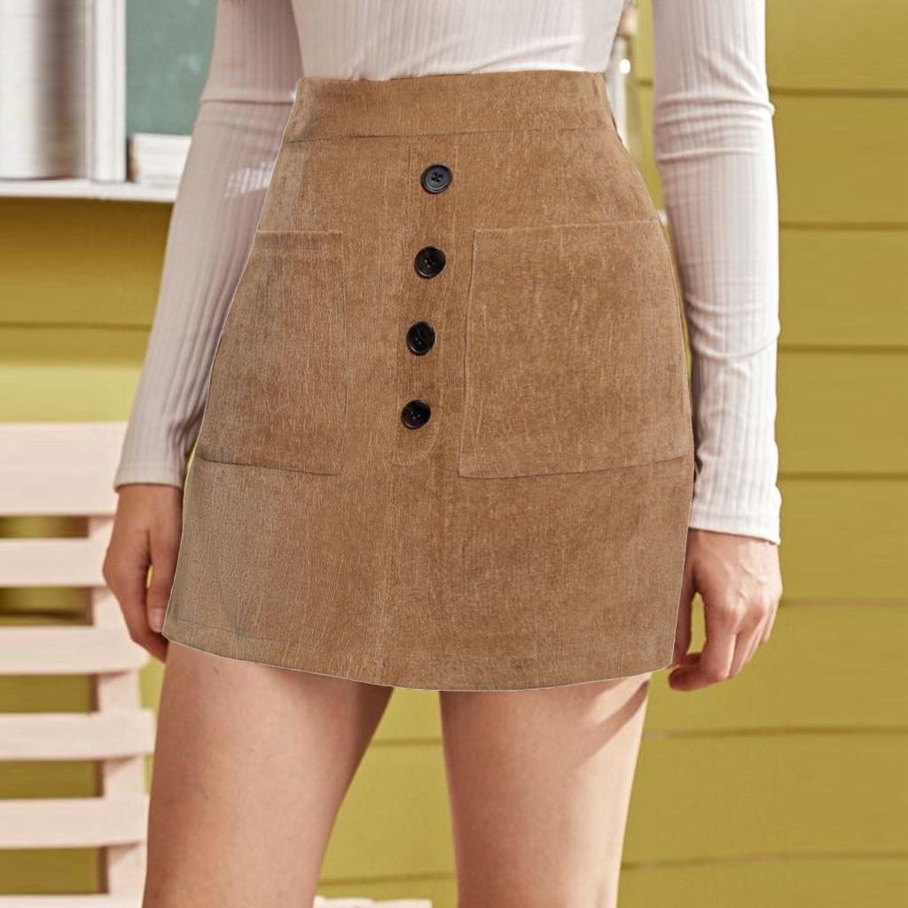 Senhora moda sexy saia feminina outono inverno novo estilo sólido saco hip botão bolso saia gonne donna invernali # y3