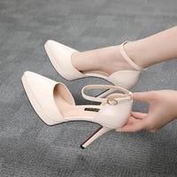 women pumps fashion women shoes platform square high heel all match pointed toe pu leather wedding pumps