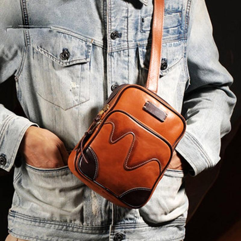 الأصلي الرجعية اليدوية حقيبة صدر للرجال الطبقة الأولى جلد البقر لينة الرجال الدنيم حقيبة ساعي حقيبة رجالية عمودية