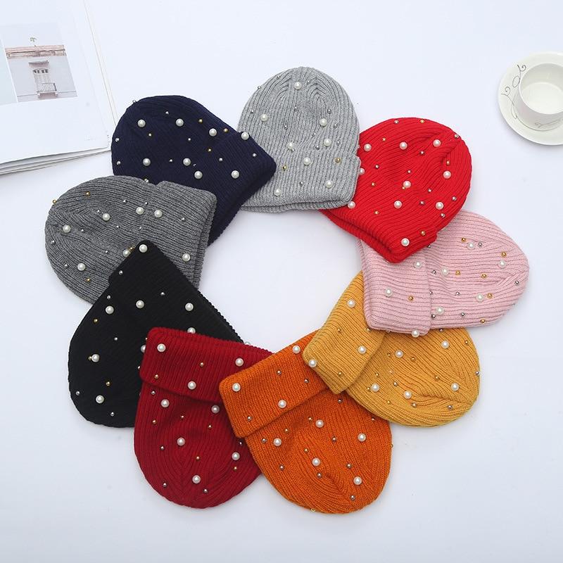 Зимняя вязаная шапка, женские модные вязаные шапки Стразы с жемчугом, женские повседневные Шапки, Женская однотонная Повседневная шапка