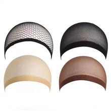 3Pcs Elastic Lace Bandage Hairnet Breathable Mesh Wig Hat Soft Nylon Stretch Cap Mesh Weaving Wig Ca