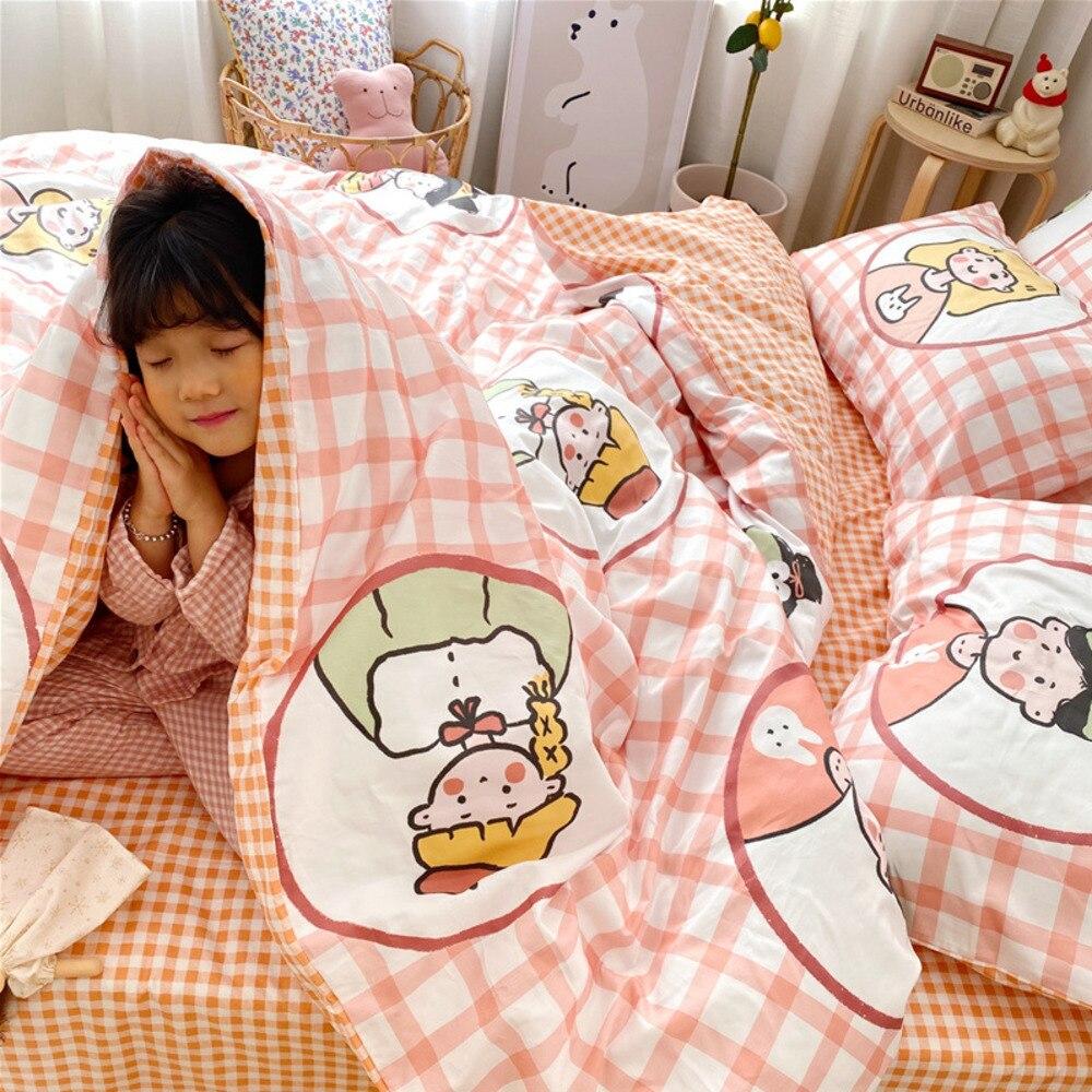 القطن الصغيرة الطازجة موضة غطاء لحاف واحد الملك الملكة الكرتون طالب عنبر المنزل الكورية نمط جميل حاف السرير