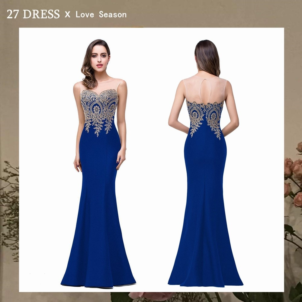 Robe Demoiselle D'honneur Elegant Appliques Lace Royal Blue Bridesmaid Dresses Cheap Wedding Party Dress Robe de Soiree