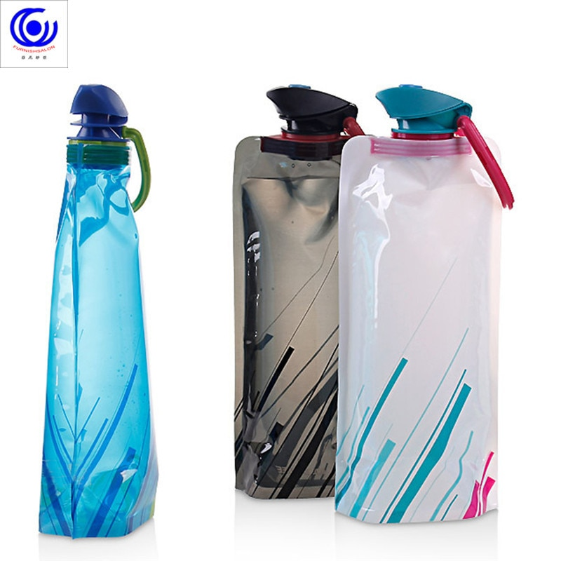 Reusable 700ml Sports Travel Portable Collapsible Folding Drink Water Bottle Kettle Outdoor BPA Free Foldable cup