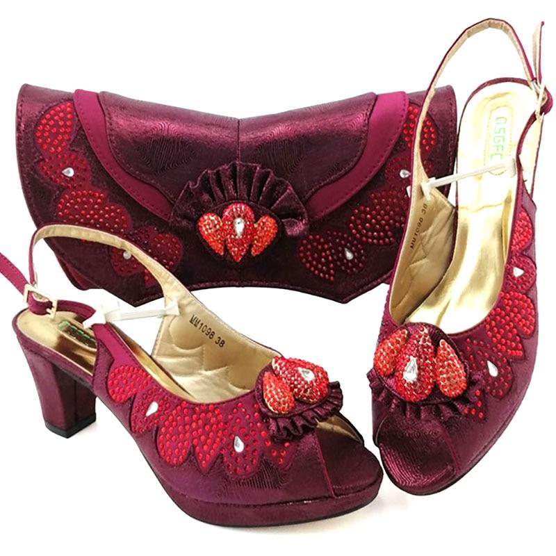 جديد الايطالية أنيقة النبيذ اللون أحذية و حقيبة لمطابقة مجموعة الأفريقي منتصف الكعب حزب الأحذية و حقيبة مجموعة لفستان الزفاف