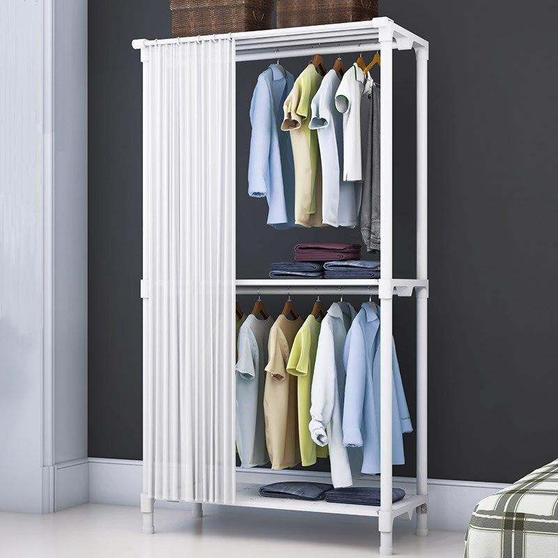 بسيطة الستار معطف الرف متعددة الوظائف الطابق للطي تجفيف الرف المنزل خزانة غرفة النوم خزانة رف ملابس داخلية شماعات