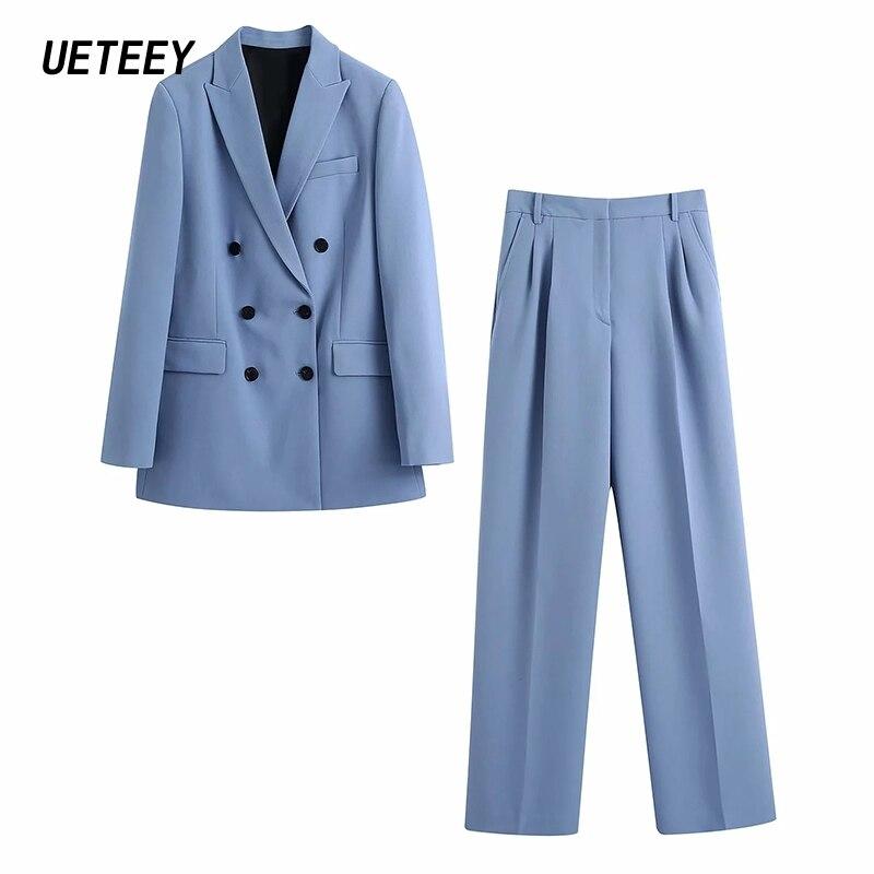Za Women's Blazers Suit Office Ladies Workwear Two Piece Femme Jackets Sets Long Sleeves Outerwear Double Breasted Coats Elegant