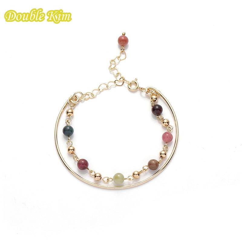 Pulsera de doble capa, brazalete de turmalina de piedra Natural, perlas, amuleto de la suerte, pulsera para amantes de la joyería, regalo para mujer