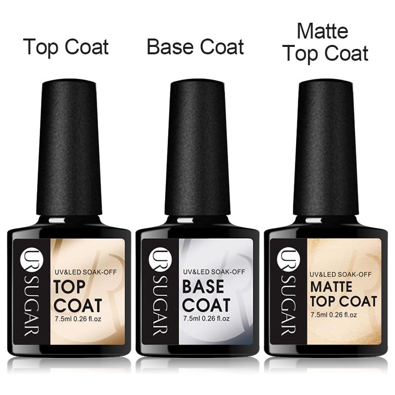 UR SUGAR 7.5ml UV Gel Nail Polish Top coat 3pcs Base and Top coat Varnishes Nail Gel Long Lasting Soak off UV Gel Nails Varnish
