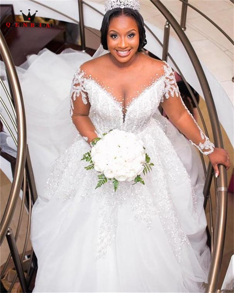 فاخر الكرة ثوب الخامس الرقبة طويلة الأكمام فساتين الزفاف تول كريستال الدانتيل الخرز المرأة زي العرائس الرسمية مخصص SK09