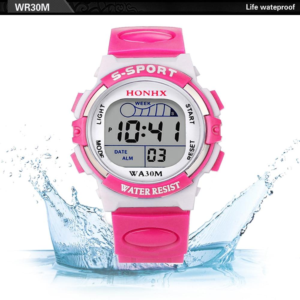 Venda quente à prova dwaterproof água crianças relógios menina digital led esportes relógio crianças alarme data adorável relógio presente escola erkek kol saati