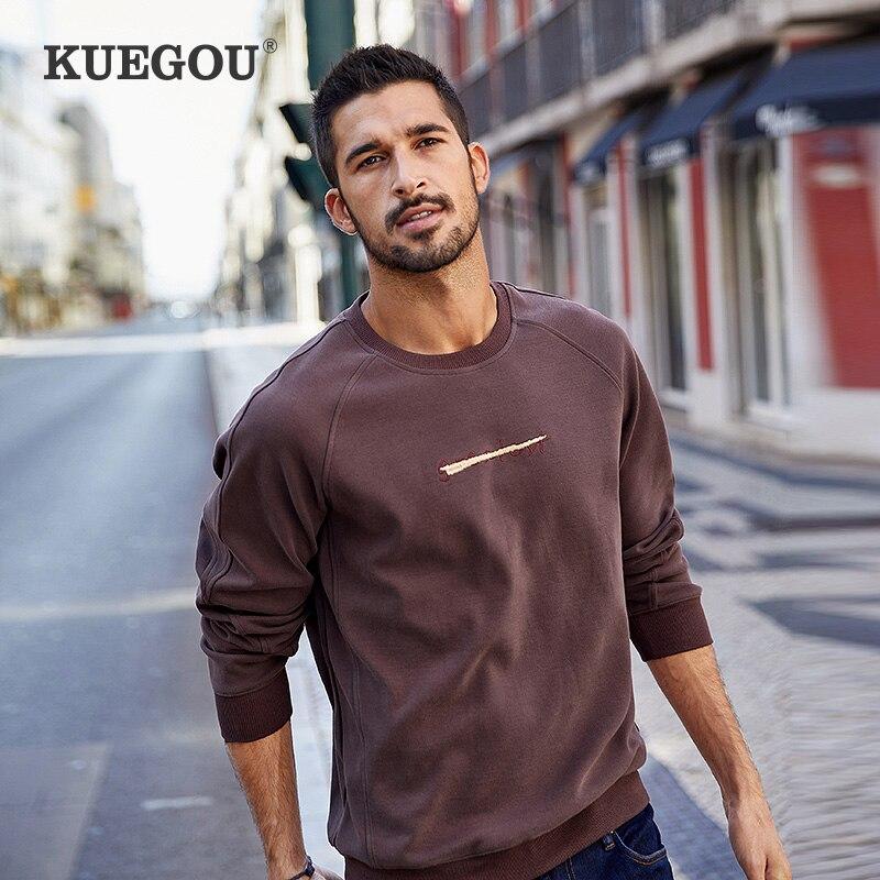 KUEGOU القطن دنة خطابات التطريز سوياتشيرتس الخريف أزياء الرجال هوديي بلوزات أعلى زائد حجم UEW-8939