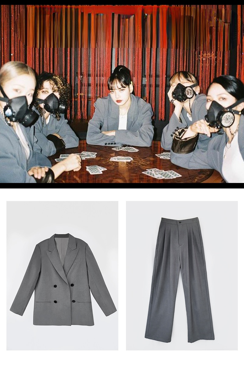 Kpop الكورية ليزا مرحلة عرض مزدوجة الصدر المتضخم سترات سترات معطف فضفاض عالية الخصر مستقيم بنطال ذو قصة أرجل واسعة النساء مجموعات