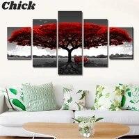 Peintures a lhuile darbre rouge abstraites sur toile  5 panneaux  affiches et imprimes dart mural de paysage  decoration murale pour la maison  sans cadre