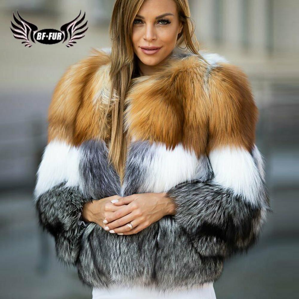 BFFUR موضة النساء ريال فوكس معطف الفرو الجلد كله الدافئة سميكة سترة حقيقية الفراء الشتاء سترة النساء 2021 الفاخرة منفوش معطف