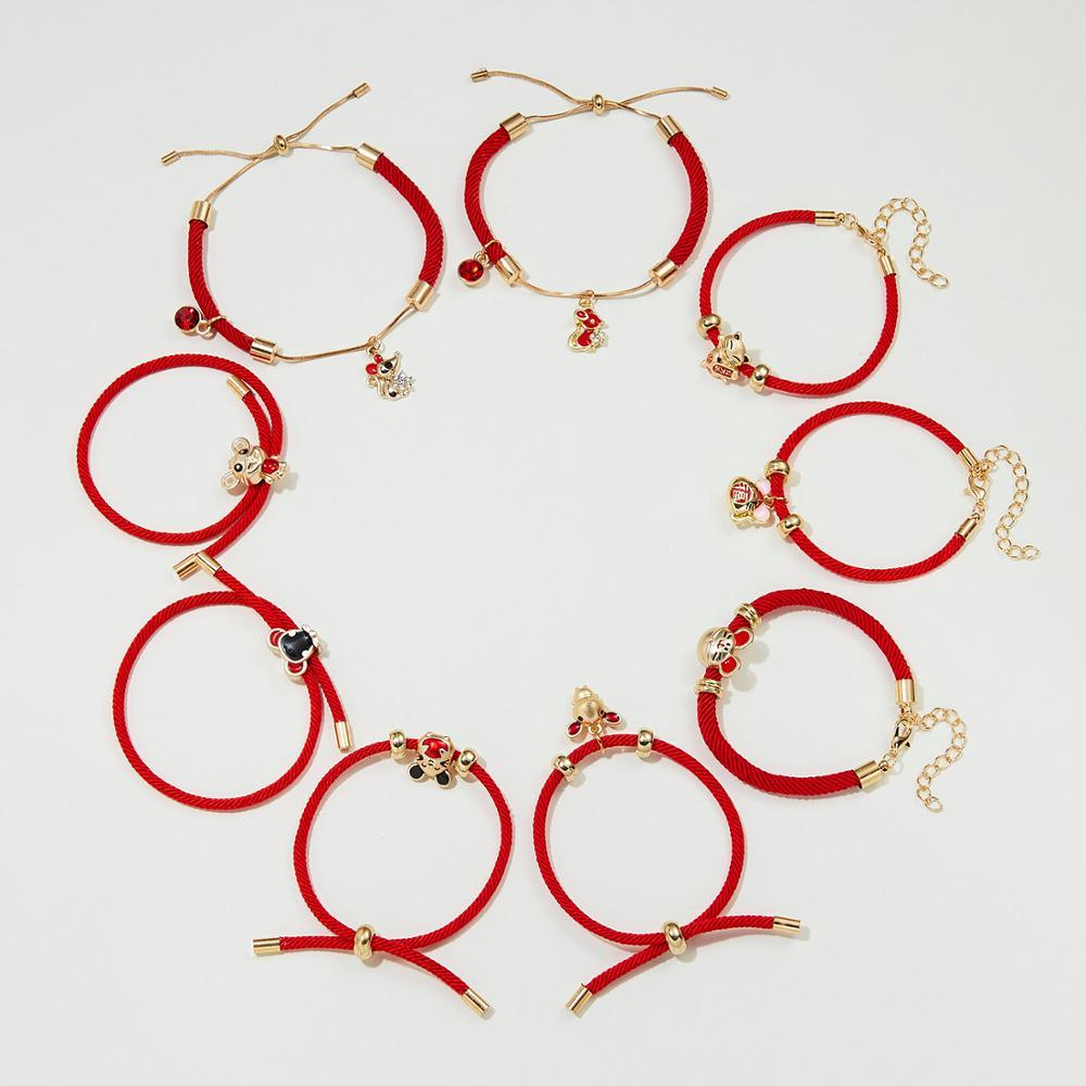 El año de la Rata lindo Diamante de imitación esmalte gato ratón colgante ajustable tejido rojo cuerda de la suerte cadena pulsera encanto joyería regalo