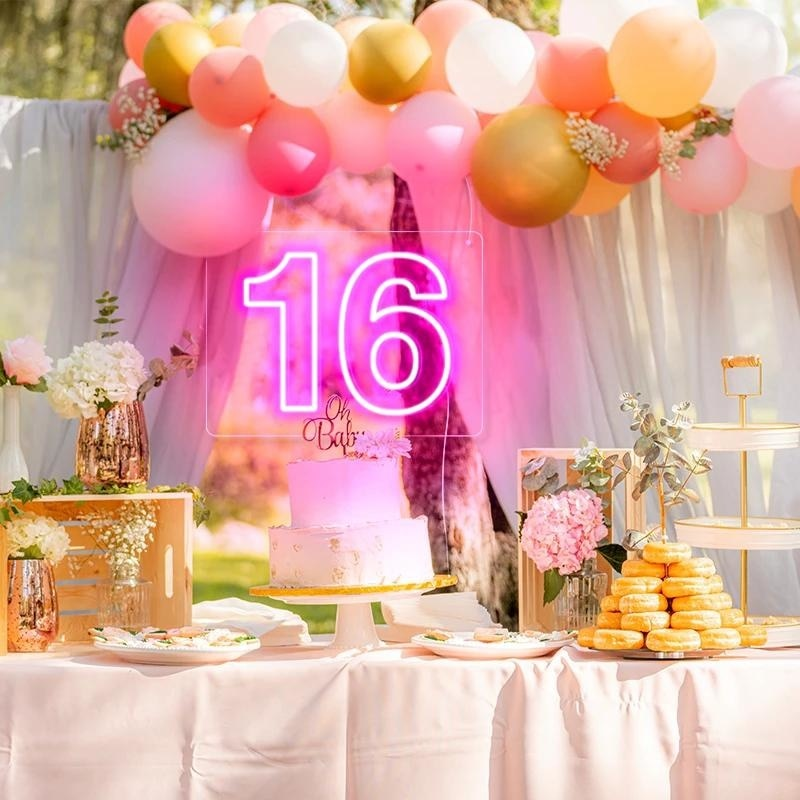 OHANEONK Custom led 16 Sixteen Happy Birthday Backdrop Neon Sign Light Decoration Home Bar Wall Bedroom Party Decorative Cool enlarge