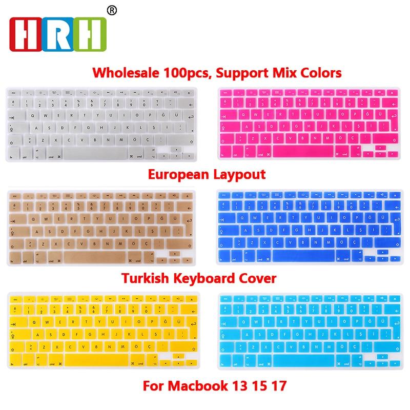 HRH Wholesale 100pcs Turkish Language EU/UK Silicone Keyboard Skins Covers Protector For MacBook Pro Retina Air 13.3