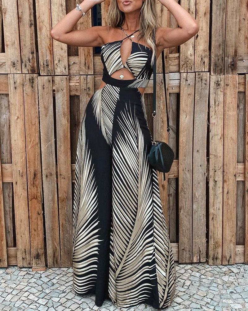 Summer Women Leaf Print Cut Out Patchwork Jumpsuit Femme Elegant Halter Sleeveless Pants Office Lady Casual Overalls 2021 enlarge