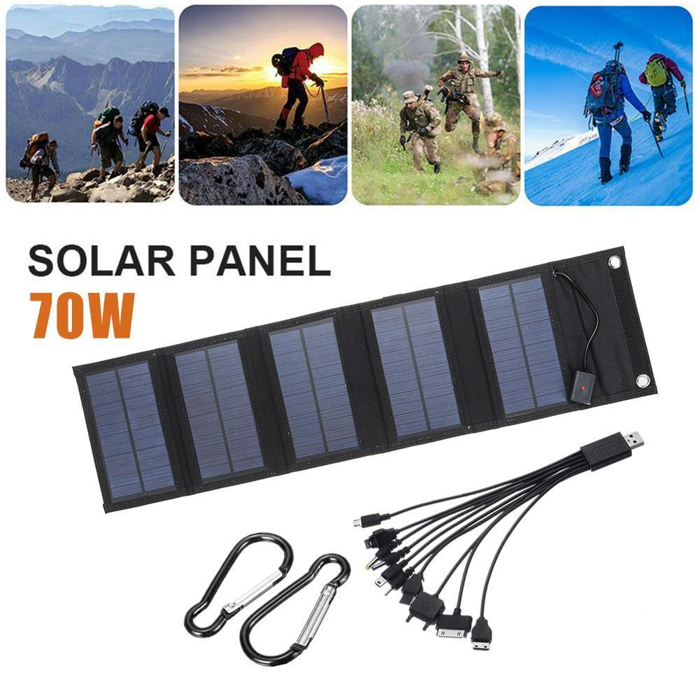 Solar Charging Panel Sun Power Solar Cells Folding Pack 10 In 1 USB Cable Portable Solar Charger For Phone Camping
