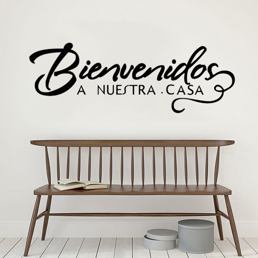 AliExpress - Welcome to Our Home Spanish Quote Wall Sticker Welcome Sign Decoration Vinyl Decals Bienvenidos a nuestra casa Home Art Decor