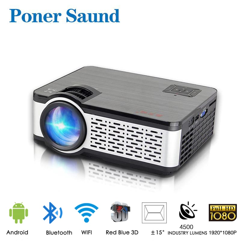 Poner-Mini Proyector LED Saund HD W5 Native 1280x720P, Android, WiFi, cine de...