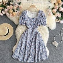 Yitimoky Floral Print High Waist Dresses Women Puff Sleeve Square Collar A-Line Purple Clothing 2021