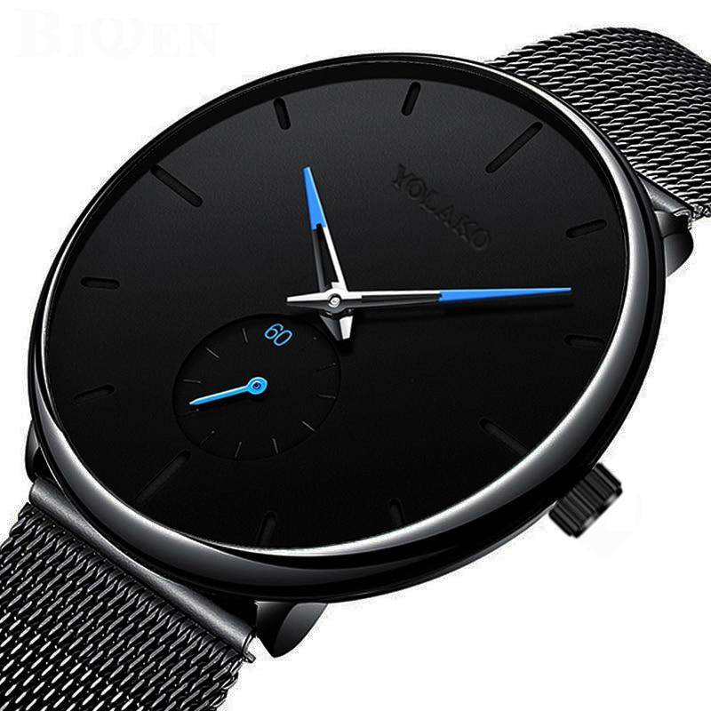 DONROSIN мужские повседневные тонкие черные сетчатые Стальные наручные спортивные часы, модные мужские часы от ведущего бренда, Роскошные Кварцевые часы Relogio Masculino