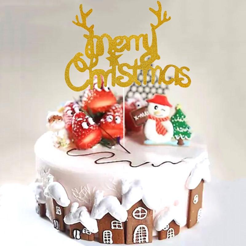 Feliz adorno de Pastel de Navidad árbol de Navidad renos Cupcake Topper...
