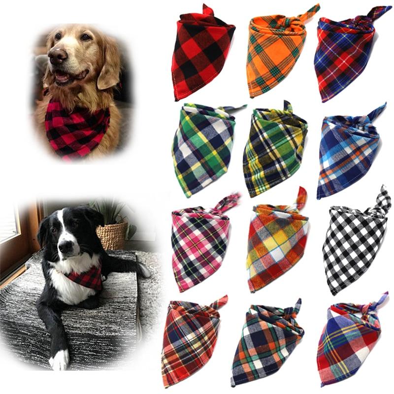 Kutya bandanák, nagyméretű kisállat sál kisállat bandana kutya pamut kockás mosható galléros macska és kutya sál, nagy kutya kiegészítők