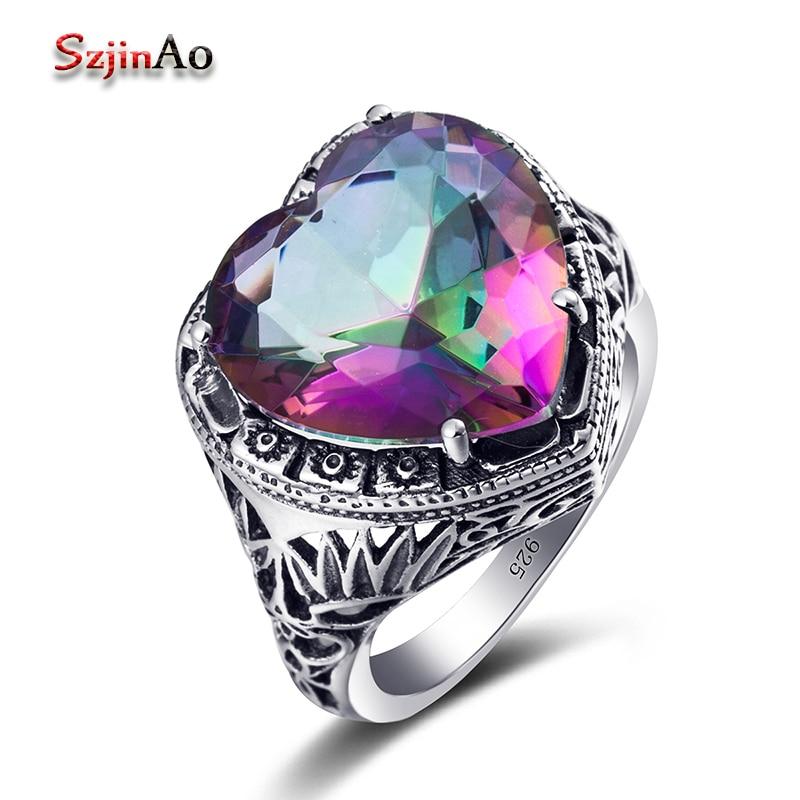 Plata de Ley 925 auténtica en forma de anillo Arco Iris místico...