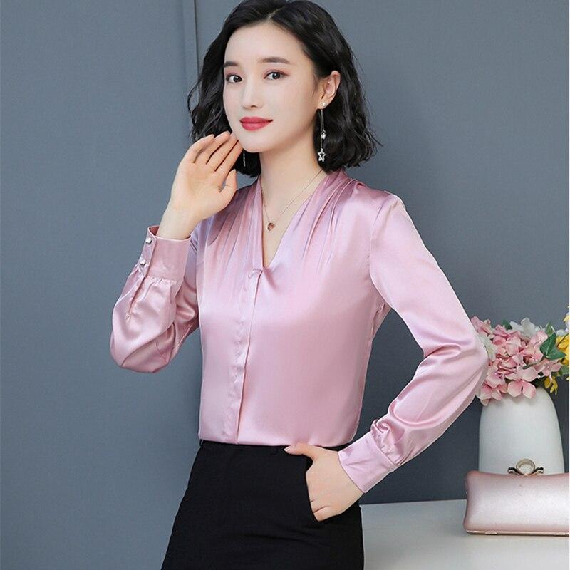 Moda coreana de seda blusas femininas sólido manga longa rosa camisas femininas plus size xxxl/4xl blusas femininas elegantes senhoras topos