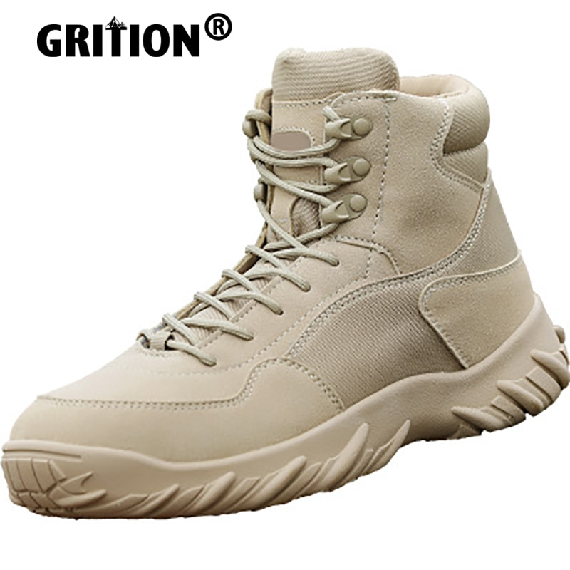 GRITION Men Hiking Trekking Boots Outdoor Women Sports Winter Tactical Shoes Lace Up Ankle Military