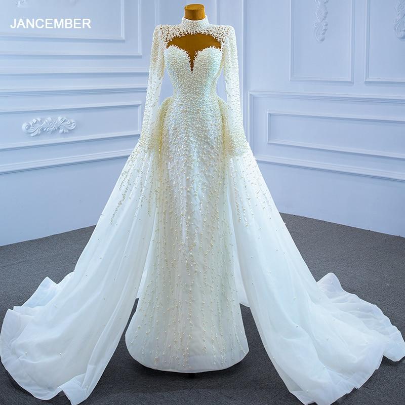 J67261-فستان زفاف بياقة مدورة من الدانتيل ، وأكمام طويلة ، وتزيين لؤلؤي