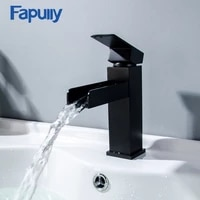 fapully waterfall basin bathroom faucet deck mounted sink tap black single handle mixer taps single holder hot and cold water