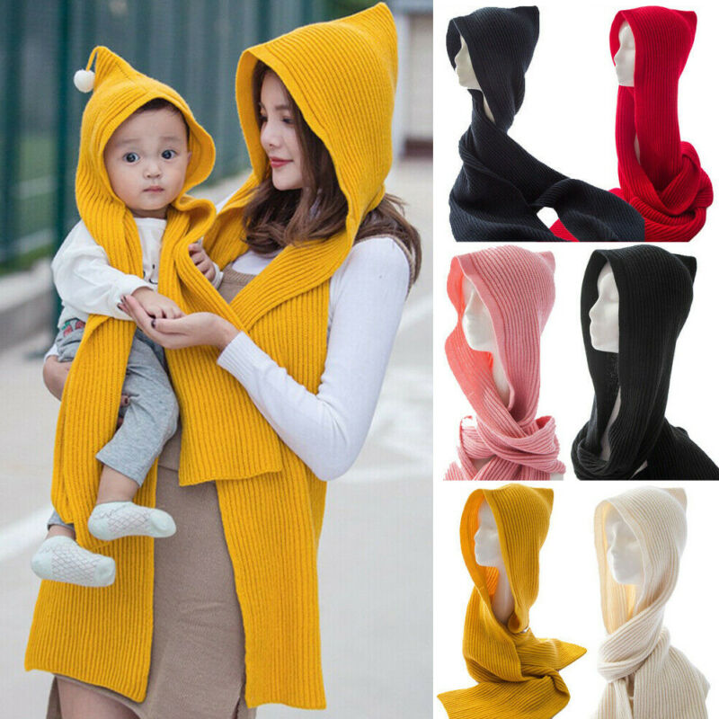 Cute Caps For Adult Mother Kids Baby Boy Girl Pom Hat Winter Thick Collar Warm Knit Bobble Beanie Cap Scarf