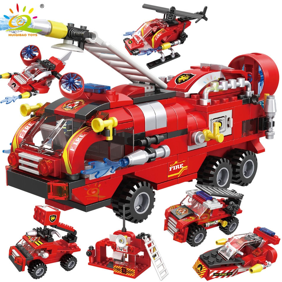 HUIQIBAO 387pcs 6in1 Fire Fighting Trucks Car Helicopter Boat Building Blocks City Firefighter Firem