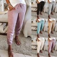 bikoles 2021 summer new fashion casual ladies long pants solid pockets patchwork shirring belt elastic waist women 3xl plus siz