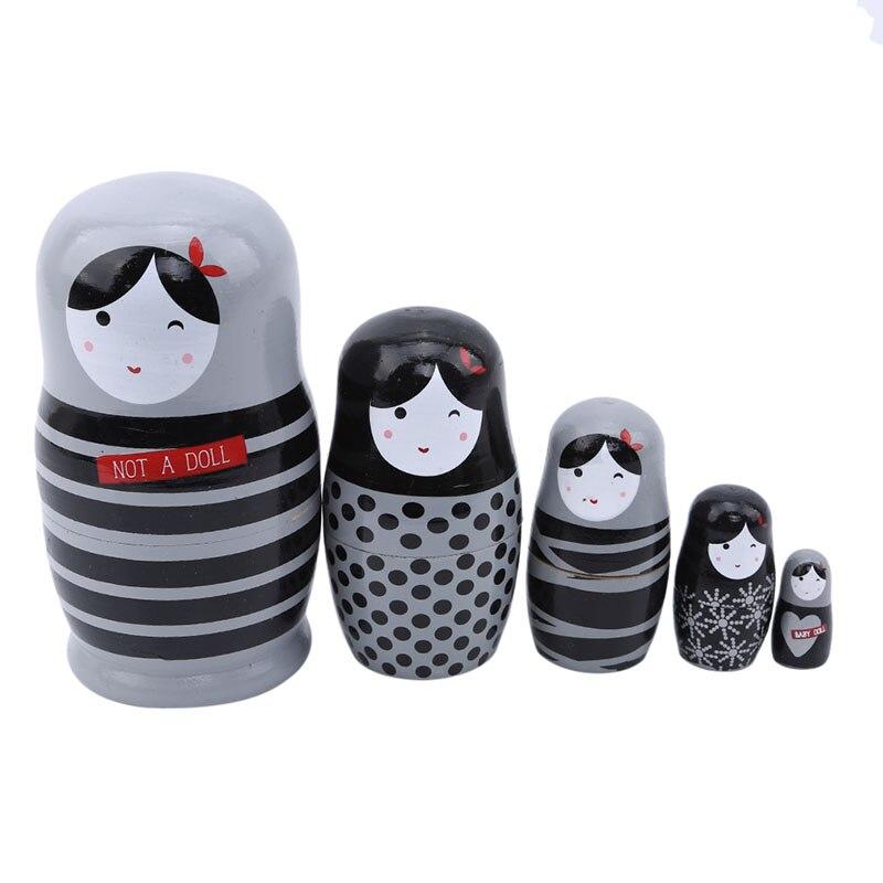 5 piezas encantadoras muñecas caseras hechas a mano de Basswood oso Ear muñecas rusas Matryoshka juego de muñecas Matryoshka juguetes decoración del hogar juguetes regalo