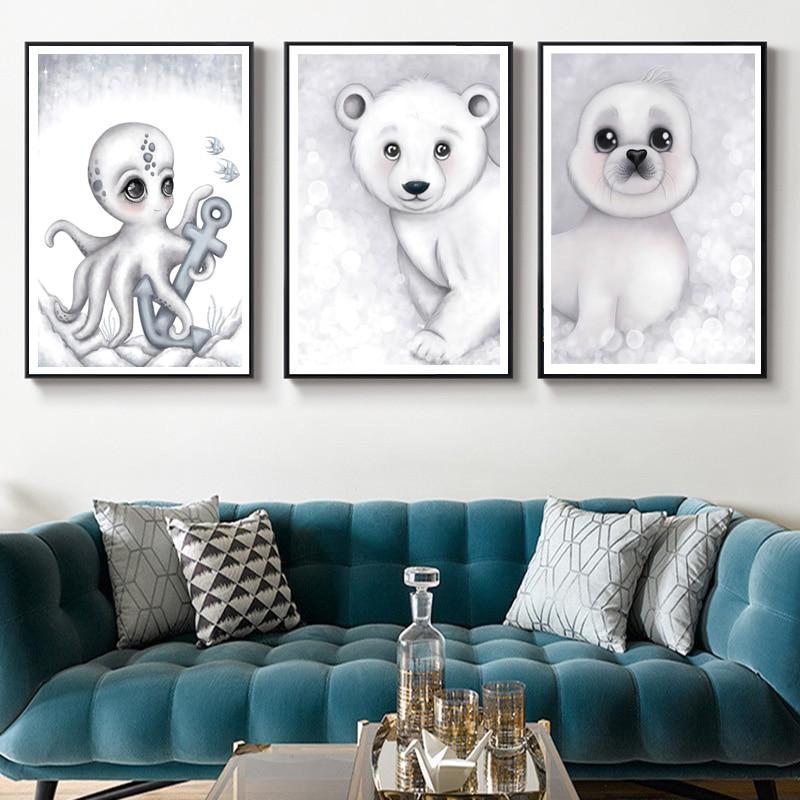 Sello Oso Polar pingüino tortuga pulpo DIY diamante pintura 5D Animal mosaico pared arte pintura nórdico dibujos animados niños DIY regalo